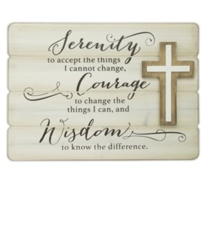 SERENITY PLANK WALL PLAQUE W/ CROSS BOXED