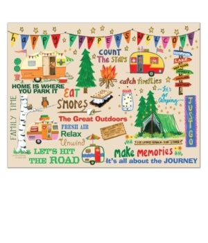 HAPPY CAMPERS GLASS CUTTING BOARD BOXED