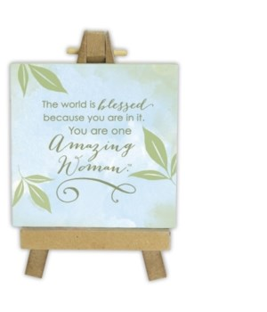 AMAZING WOMAN MINI PLAQUE ON EASEL BOXED