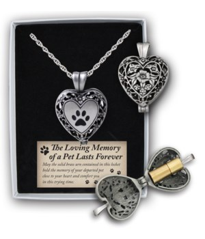 SE PAW PRINT HEART LKT W/ASH HOLDER ON 24 in.   CHAIN GIFT BOXED