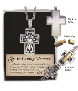SE MEMORIAL CROSS ASH LOCKET W/CLEAR CRYSTALS ON 24 in.   CHAIN