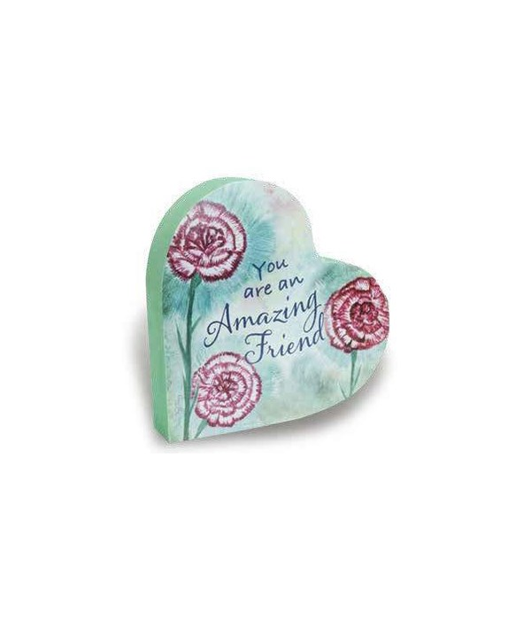 AMAZING FRIEND 2 SIDED FLORAL HEART BLOCK INDIVIDUALLY BAG