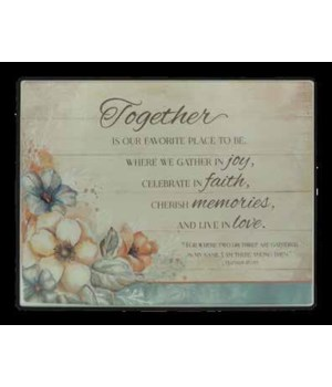 TOGETHER FLORAL MINI CUTTING BOARD DOUBLE BOXED 11 x 8 1/2