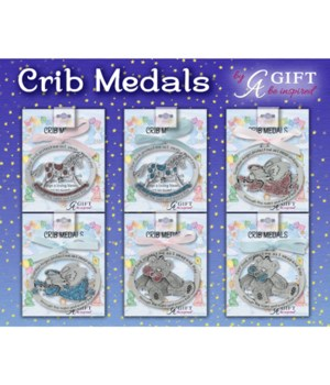 18PC COLOR FILL CRIB MEDAL UT W/EASEL BOARD DISPLAY
