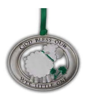 SE IRISH WEE LITTLE ONE LAMB CRIB MEDAL W/EPXY & GREEN RIBB