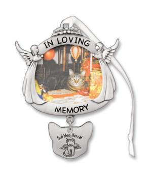 SILV CAT MEMORIAL PHOTO ORNAM W/RIBBON GIFT BOXED