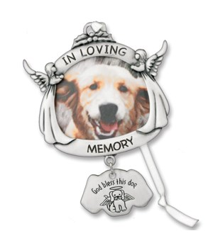 SILV DOG MEMORIAL PHOTO ORNAM W/RIBBON GIFT BOXED