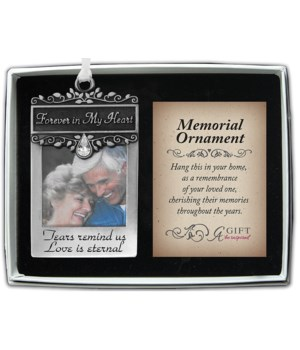 FOREVER IN MY HEART PHOTO ORN W/CRYSTAL & WHITE RIBBON