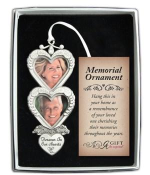 SE IN LOVING MEMORY DBLE HEART KEEPSAKE W/WHITE RIBBON
