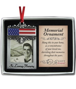 SE PATRIOTC MEMORIAL PHOTO ORN W/CRYSTAL & RED RIBBON