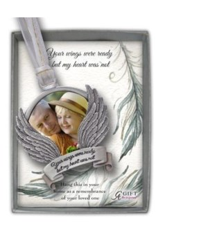 WINGS WERE READY PHOTO ORNAM ON WHITE & GOLD RIBBN GIFT BOX