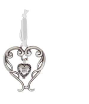 SE HEART ORN W/ALWAYS IN MY HEART ASH LOCKET ON WHITE RIBB