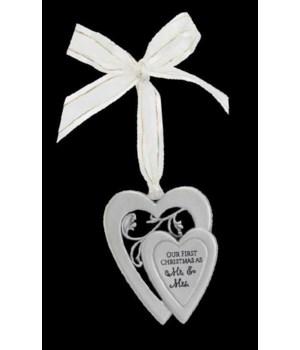 MR. & MRS. 1ST XMAS DBLE HEART ORNAMENT ON WHITE RIBBON