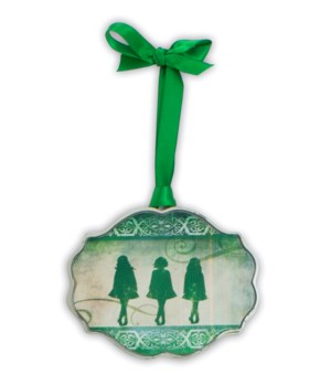 DANCE SING LOVE IRISH ORNAMENT ON GREEN RIBBON GIFT BOXED
