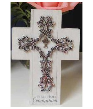 FIRST COMM MDF CROSS W/FILIGRE CROSS ACCENT W/EASEL BACK