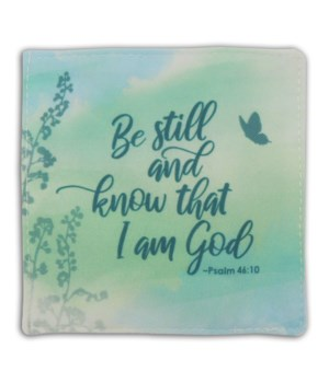 BE STILL & KNOW FABRIC COASTER SET OF 4, TIE TOGETHER & BAG