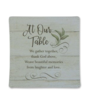 AT OUR TABLE FABRIC COASTER SET OF 4, TIE TOGETHER & BAG