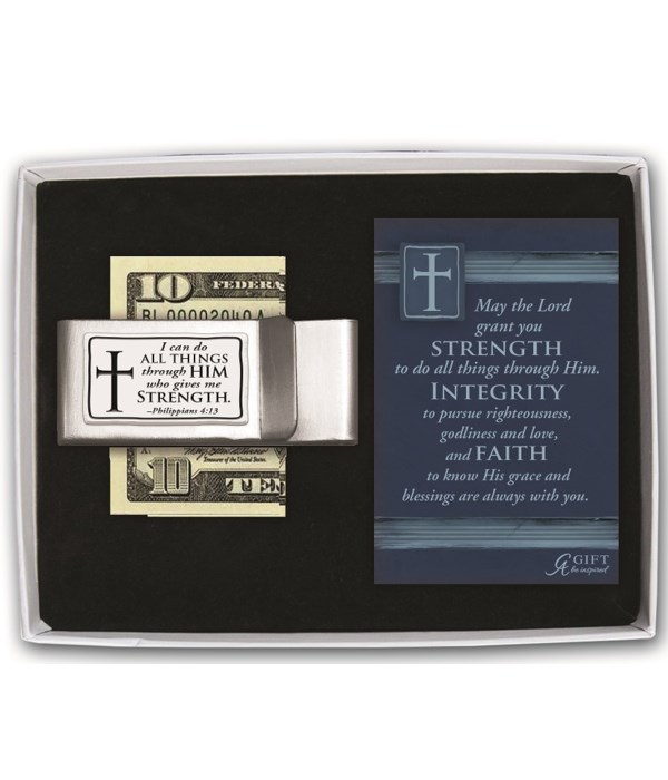 I CAN DO ALL THINGS DBLE MONEY CLIP GIFT BOXED W/CARD