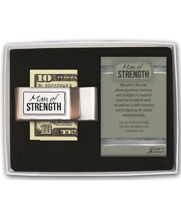 MAN OF STRENGTH DOUBLE MONEY CLIP GIFT BOXED W/CARD