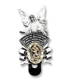 BF 2-TONE ST.CHRIS/ANGEL VISOR CLIP CARDED INDIV BAG