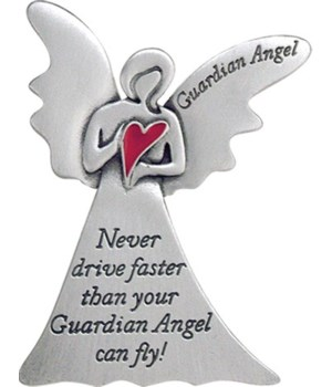 SE NEVER DRIVE FAST ANGEL VISR CLIP W/RED EPOXY HEART CARDED