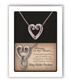 PF HEART RING HOLDER LOCKET ON 20 in.   CHAIN GIFT BOXED W/CARD