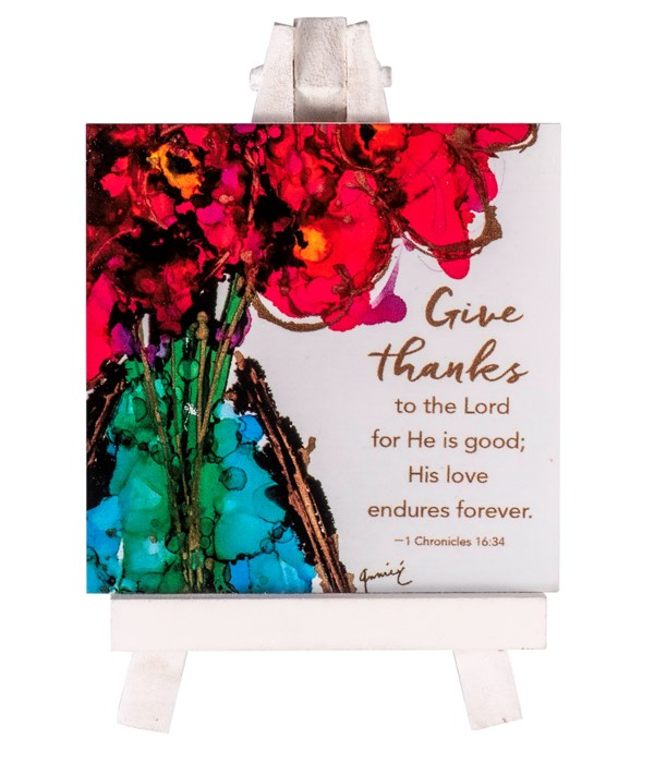 GIVE THANKS MINI PLAQ ON EASEL BOXED