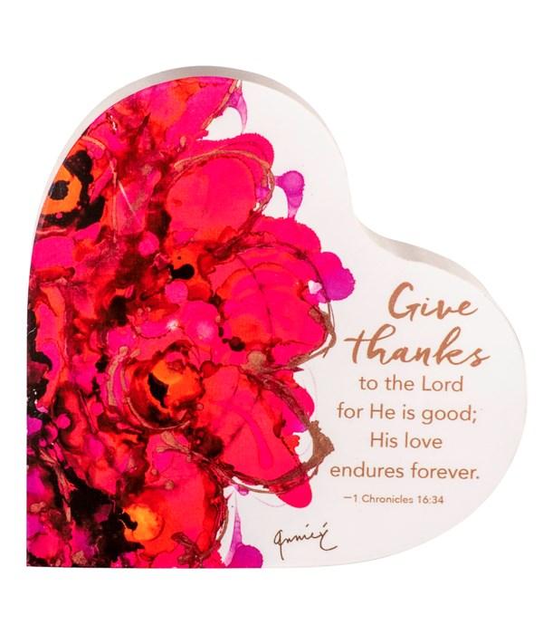 GIVE THANKS/GRATITUDE 2 SIDED HEART BLOCK INDIVIDUALLY BAG