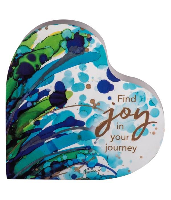 FIND JOY/FILLED W/JOY 2 SIDED HEART BLOCK INDIVIDUALLY BAG