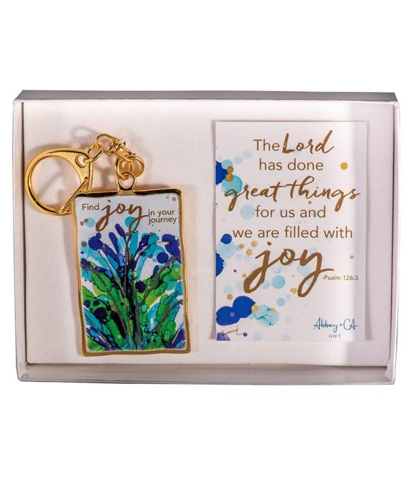 GOLD FIND JOY ARTMETAL KEYRING GIFT BOXED W/CARD