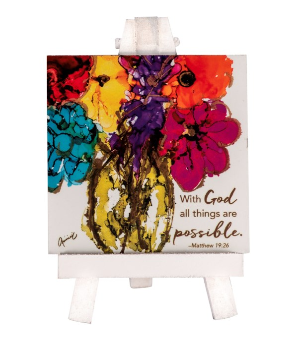 WITH GOD MINI PLAQUE ON EASEL BOXED