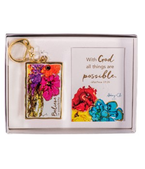 GOLD BELIEVE IN POSSIBILITY ARTMETAL KEY RING GIFT BOXED
