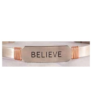 NS BELIEVE CUFF W/COPPER WIRE GIFT BOXED