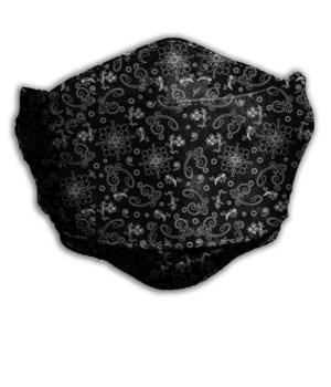 BLACK FLORAL FACE MASK INDIVIDUALLY BAG W/CARD