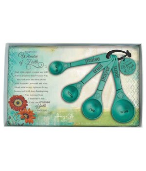 TEAL WOMAN OF FAITH MEASURING SPOON SET OF 4 GIFT BOX W/CARD