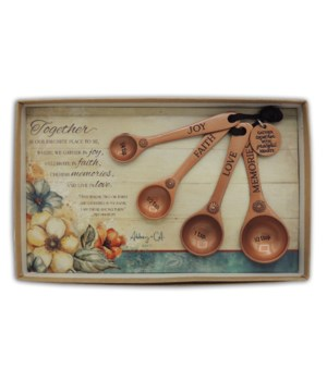 COPPER GATHER TOGETHER MEASUR SPOON SET OF 4 GIFT BOX W/CARD