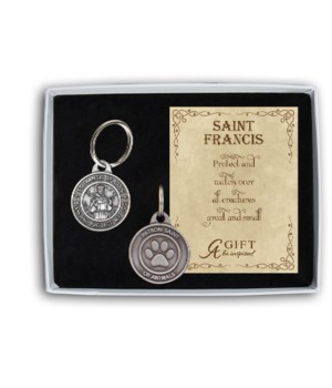 ST.FRANCIS OF ASSISI DOG PET TAG W/16MM SPLIT RING GIFT BOX