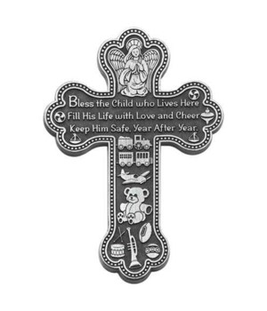 BF 5.5 in.   BOY BLESS THE CHILD MESSAGE WALL CROSS GIFT BOXED