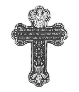 BF 5.5 in.   GIRL BLESS THE CHILD MESSAGE WALL CROSS GIFT BOXED