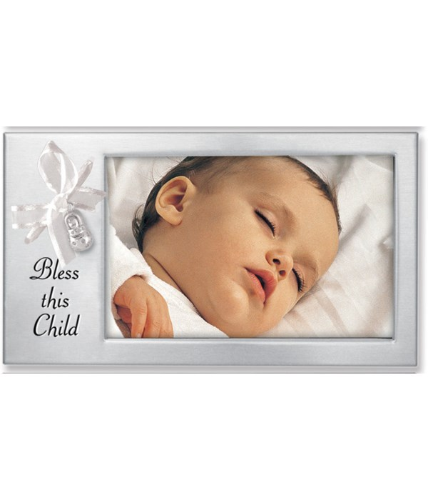 BLESS THIS CHILD RIBBON FRAME W/BABY BOOTIE CHARM BOXED
