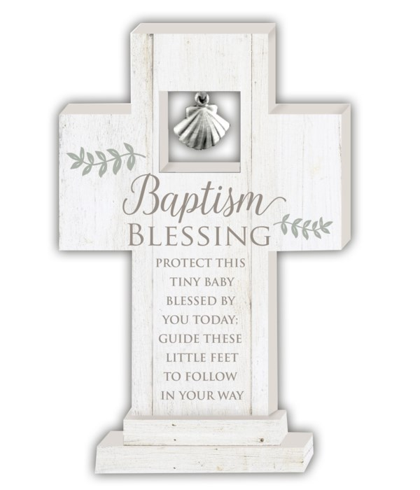BAPTISM BLESSING 6 in.   STANDING CROSS W/SHELL CHARM GIFT BOXED