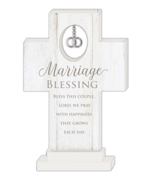 MARRIAGE BLESSING 6 in.   STANDING CROSS W/DOUBLE RINGS CHARM