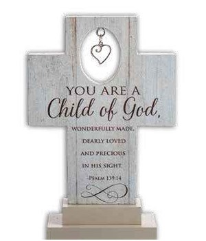 CHILD OF GOD 6 in.   STANDING CROSS W/HEART CHARM GIFT BOXED