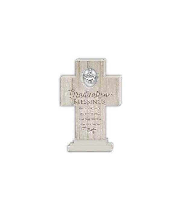 GRADUATION BLESSNGS 6 in.   STANDNG CROSS W/GRAD CAP CHARM