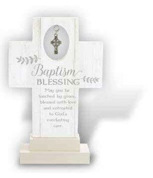 IRISH BAPTISM 6 in.   STANDNG CROSS W/CELTIC CROSS CHARM GIFT BOX