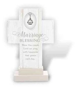IRISH MARRIAGE PRAYER 6 in.   STAND CROSS W/CLADDAGH CHARM