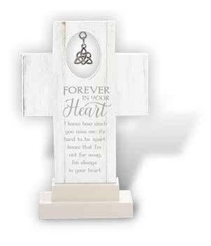 IRISH FOREVER IN YOUR HEART 6 in.   STAND CROSS W/TRINITY HEART