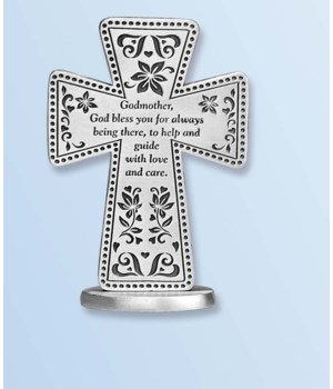 GODMOTHER 3 in.   STANDING MESSAGE CROSS GIFT BOXED