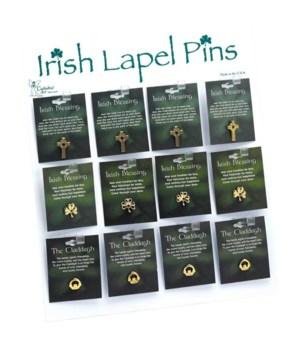 72 PC IRISH PIN UNIT W/DISPLAY 24 EA OF 3 STYLES