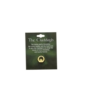 SMALL CLADDAGH PIN GOLD CARDED INDIV BAG